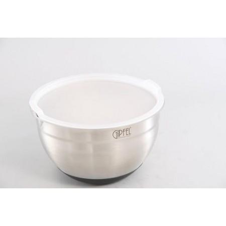 6147 GIPFEL Салатница с пластиковой крышкой ORIS 20х12,5 см, (нерж.сталь)