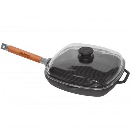 1026с Биол сковорода-гриль чугунная со съёмной ручкой и крышкой 26см