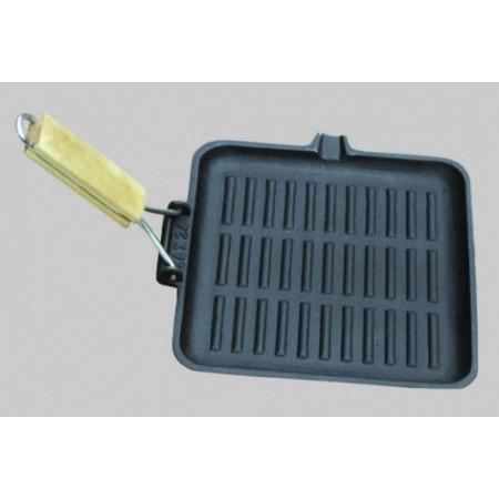 61W XG DECO Сковорода-гриль квадратная, чугунная, со складной ручкой, 24х24 см